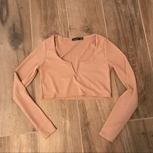 Long Sleeve 'V' Crop Top